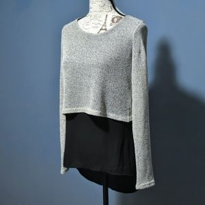 I.Ner Knit Overlay Layered Top